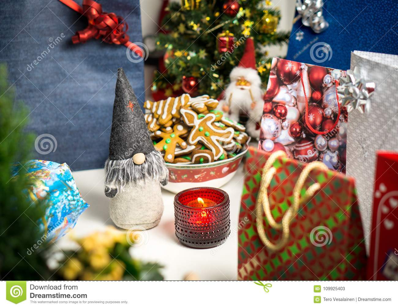 Christmas Decorations And Presents On Table Stock Image Image Of