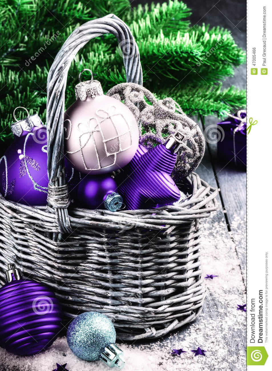 Christmas Decorations In Purple Tone Stock Photo Image