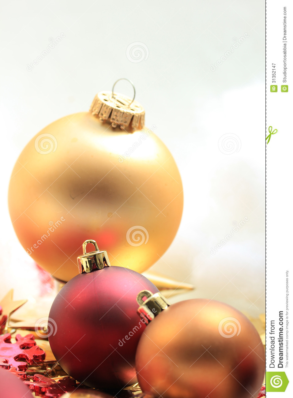 Christmas Ornaments Red And Gold : Christmas decorations in red and gold royalty free stock