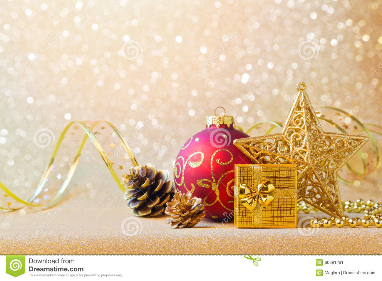 christmas decorations red gold over glitter background sparkle 60391261