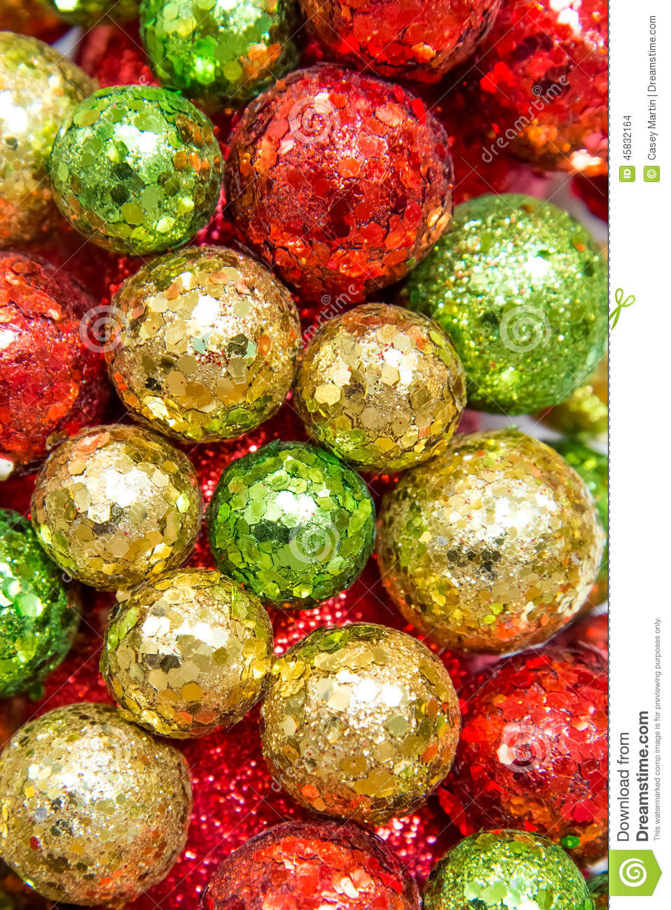 Christmas decorations red green and gold ornaments stock for Red and green christmas decorations