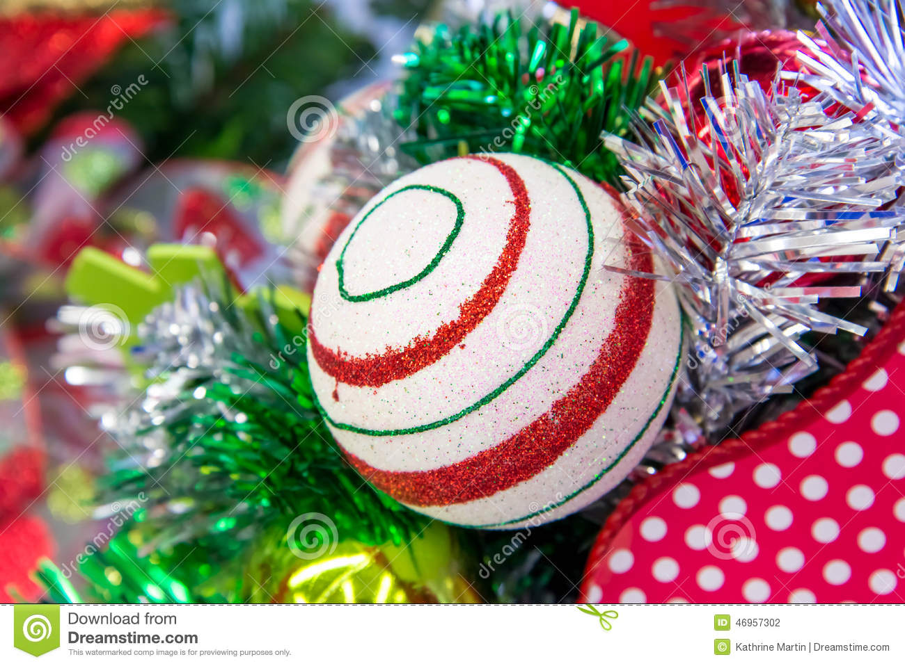 Christmas decorations red and green striped ornament for Red and green christmas decorations