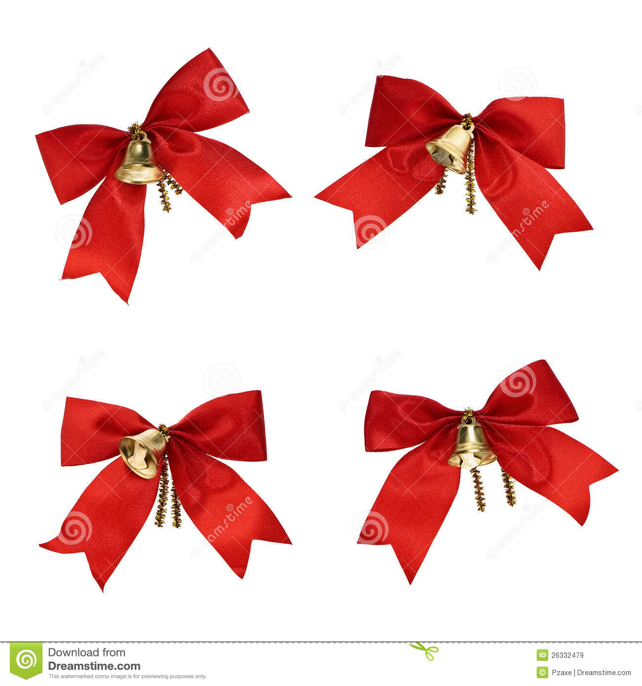 christmas decorations red ribbons and bells - Christmas Ribbon Decorations