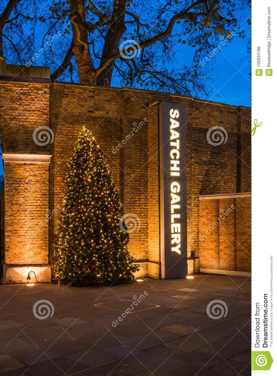 Christmas Decorations At Saatchi Gallery In Chelsea London Uk