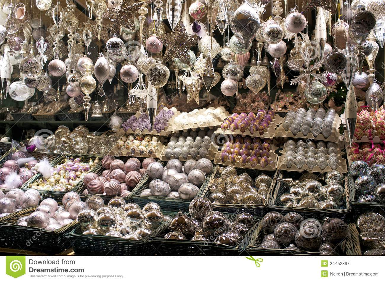 Christmas decorations for sale at market royalty free for Xmas decorations sale