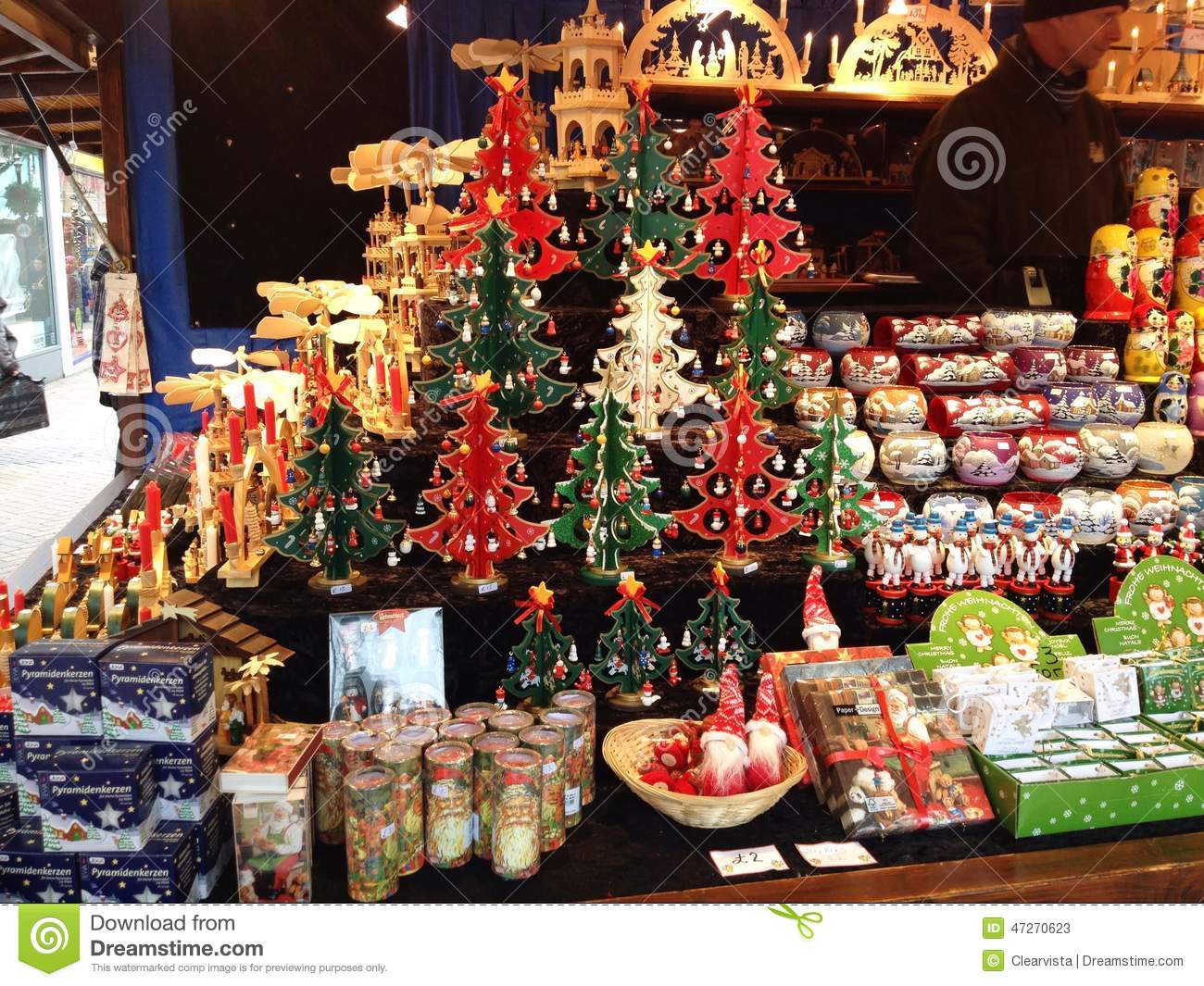 Christmas decorations on sale in a market editorial stock for Christmas sale items
