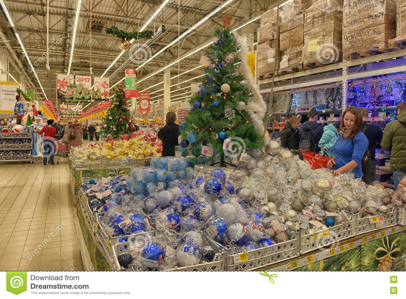 Christmas Decorations On Sale At The Store Editorial Photography