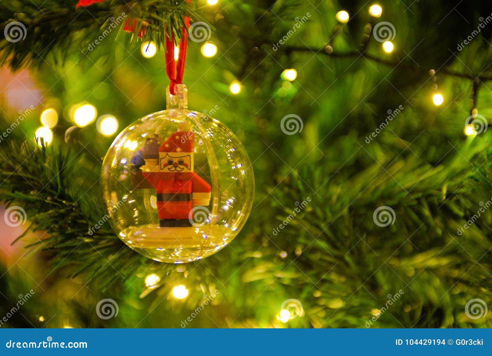 Christmas Decorations Santa Claus Inside Transparent Ball Xmas Tree Lights