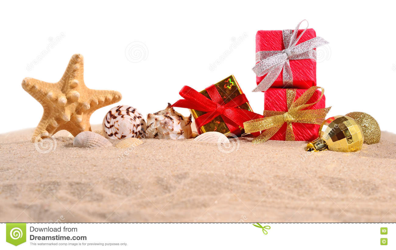 Christmas Decorations For The Beach House : Christmas decorations seashells and starfish on a beach