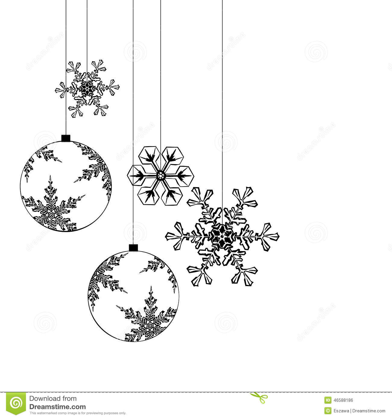 christmas decorations separated on white background