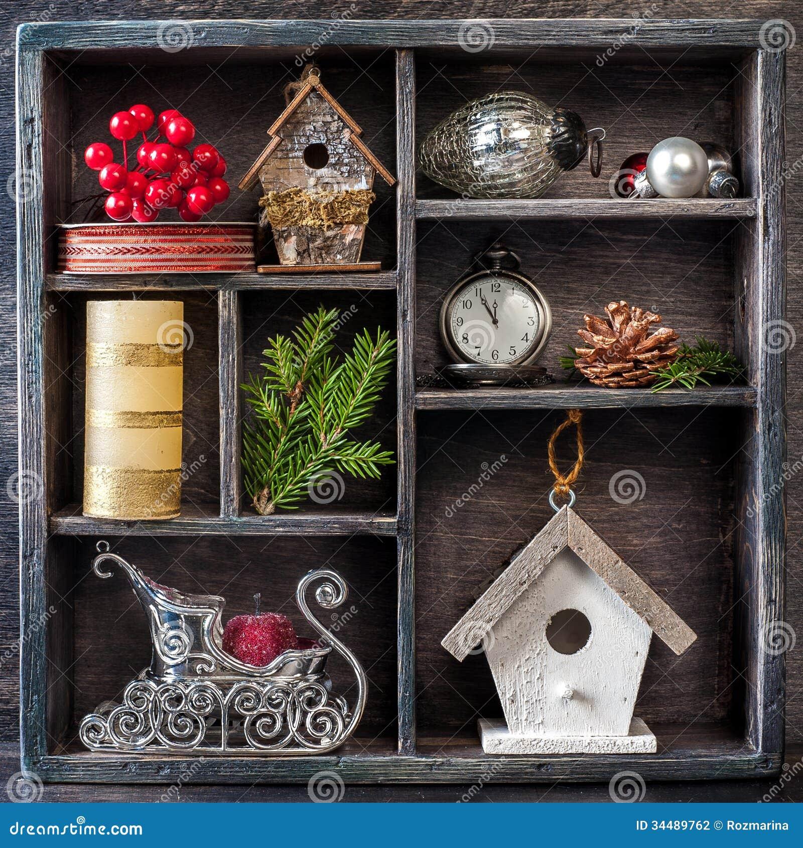 Christmas Decorations Set: Antique Clocks, Birdhouse ...