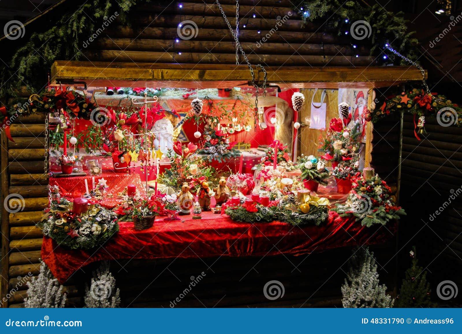Christmas decorations shop stock photo image