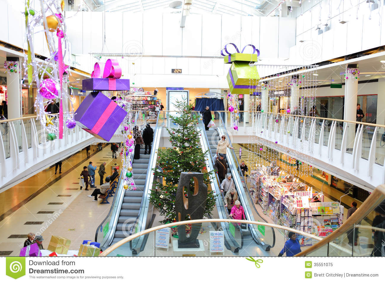 Commercial Christmas Decorations Uk.Christmas Decorations In Shopping Mall Editorial Image