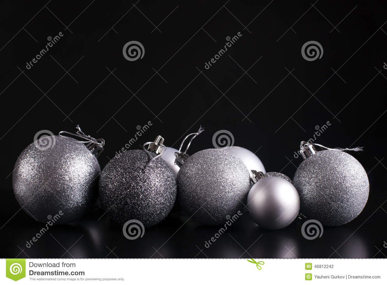 download christmas decorations silver on black stock photo image of christmas sphere