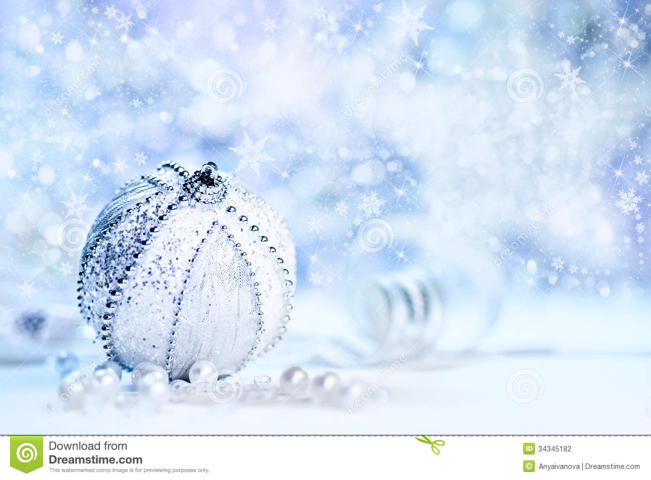 Christmas Decorations Silver White Blue Bauble Abstract Winter Background Text Space
