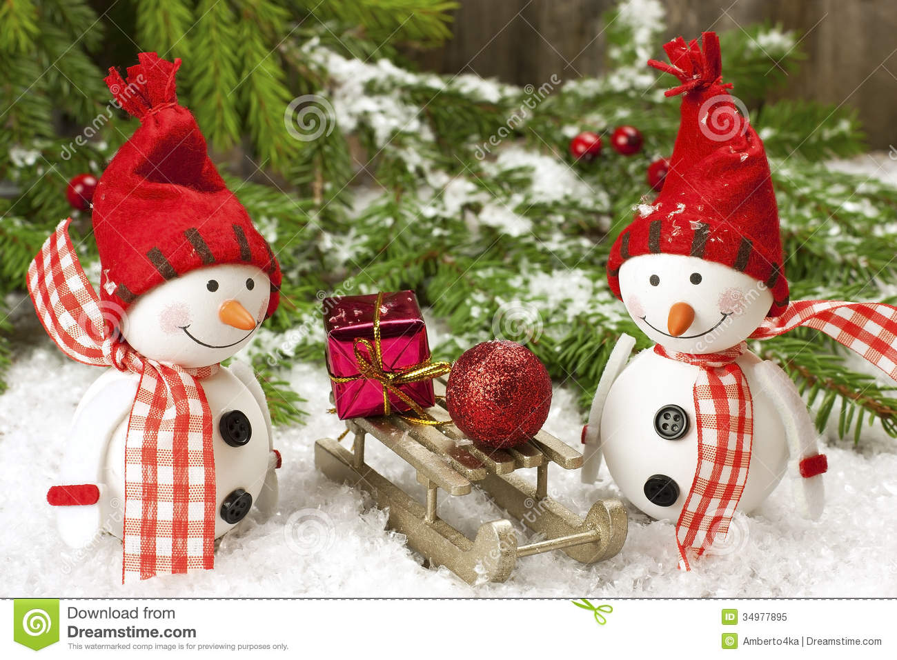Christmas Decorations With Snowmen Stock Image
