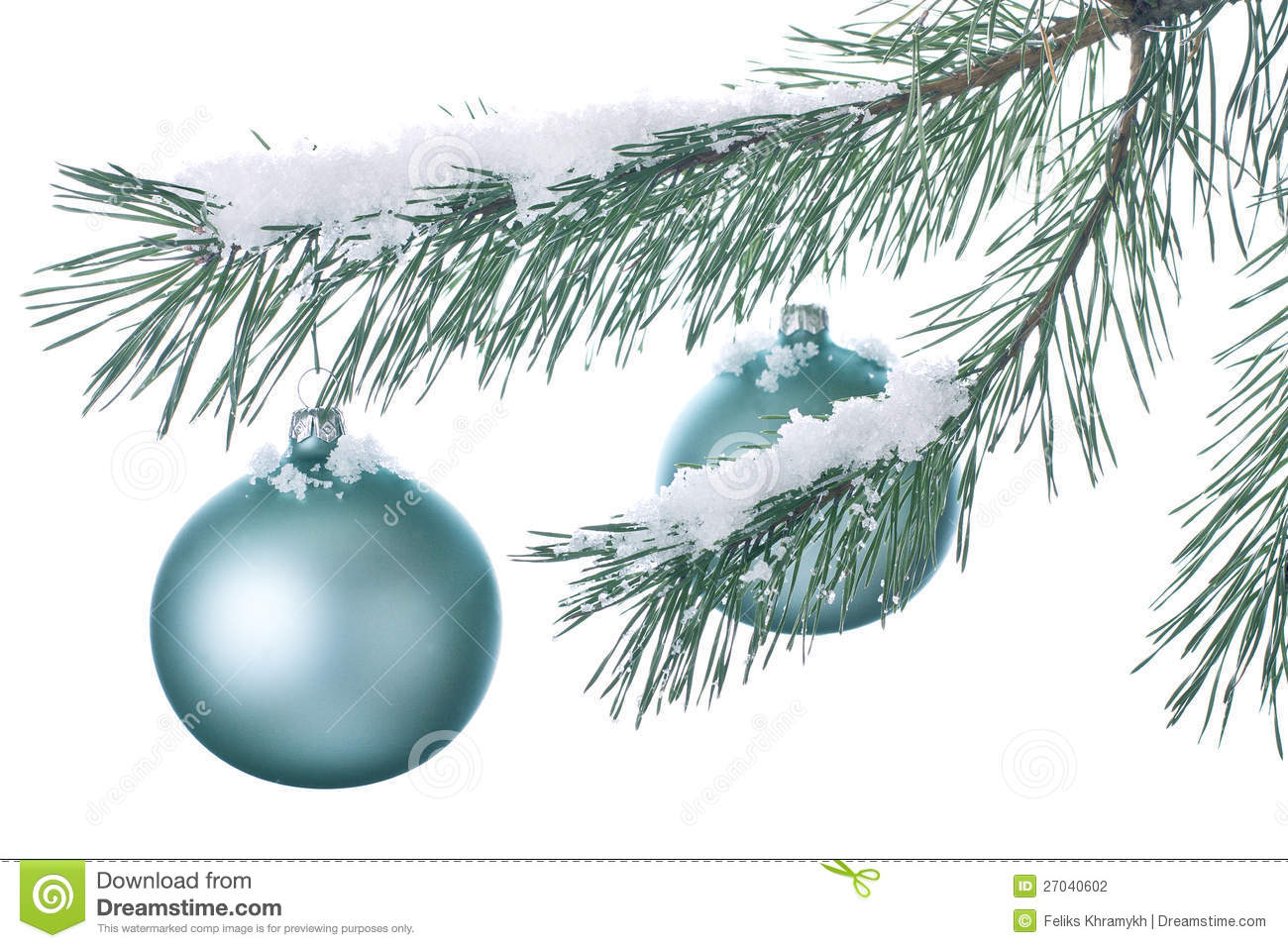christmas decorations on a snowy branch
