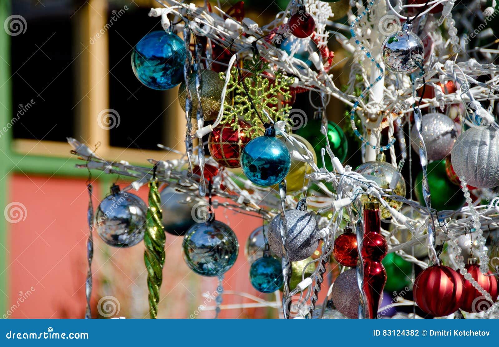 Christmas Decorations In Spanish Art Village - 4 Stock Photo - Image ...