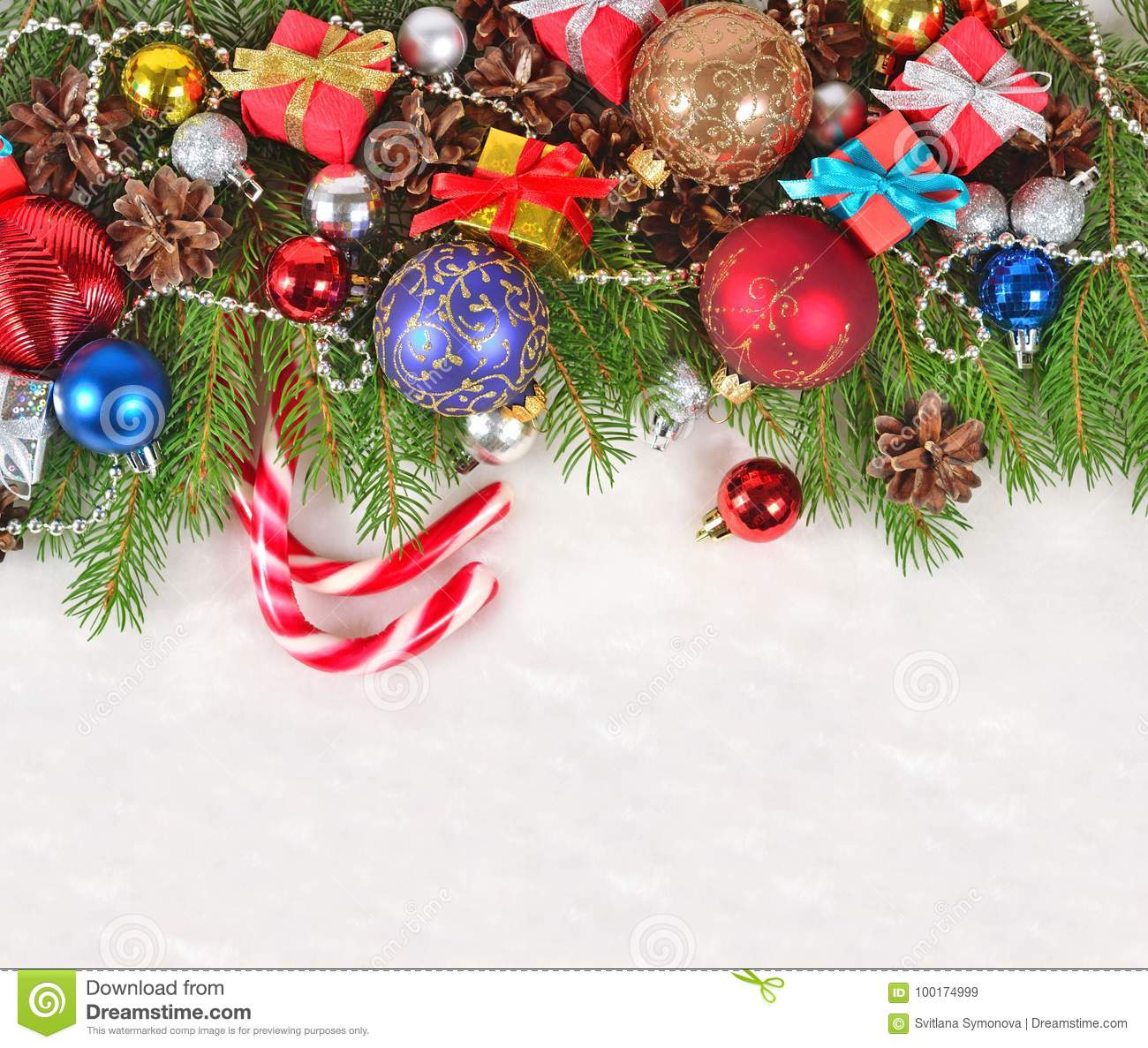 download christmas decorations on a spruce branch on a white stock image image of card