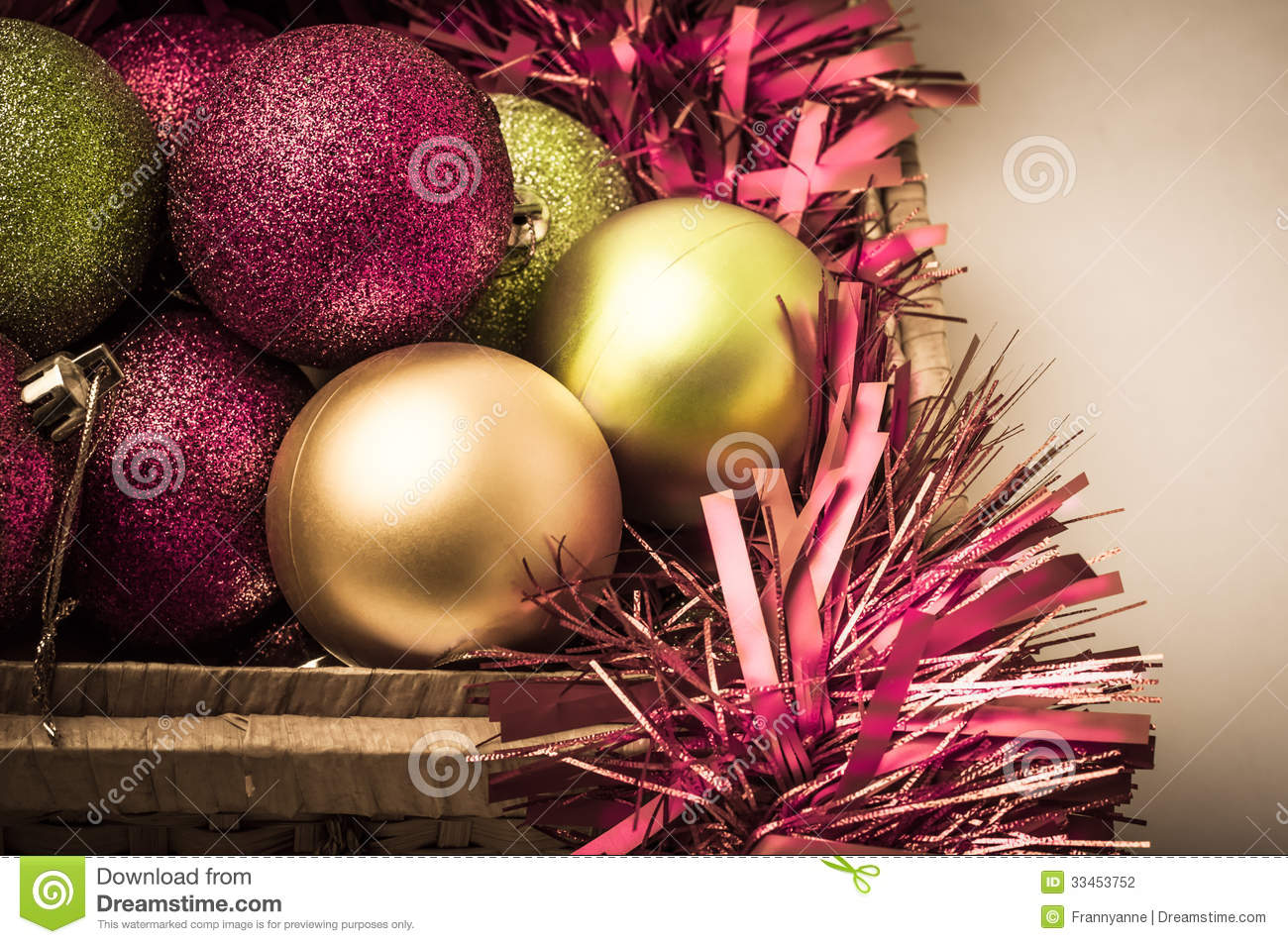 christmas decorations in storage basket - Pink And Gold Christmas Decorations