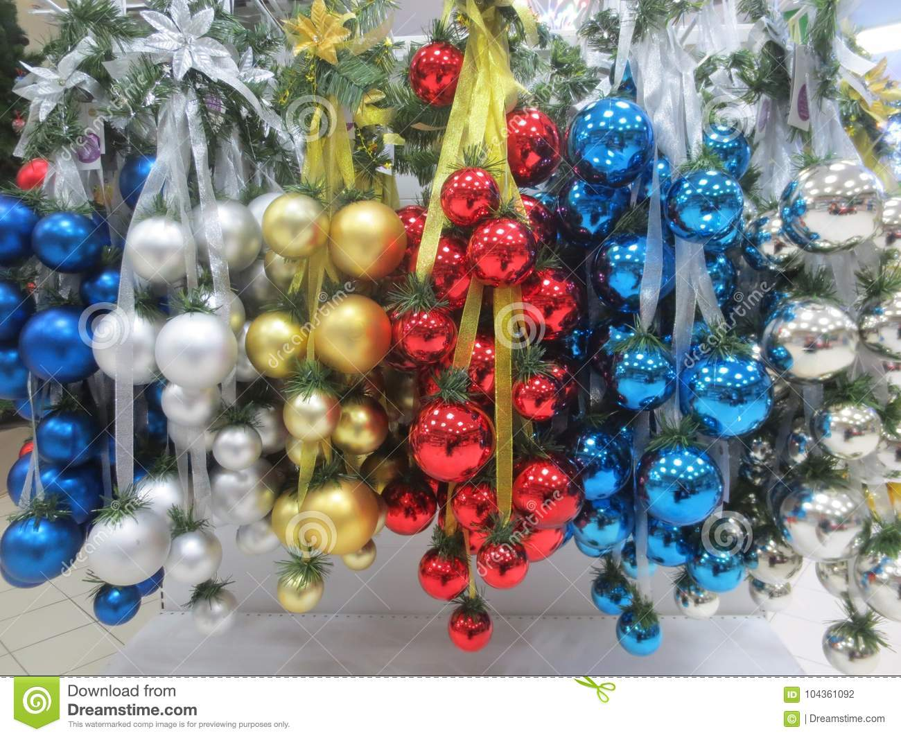 Christmas Decorations In The Store Stock Photo Image Of Green Colorful 104361092