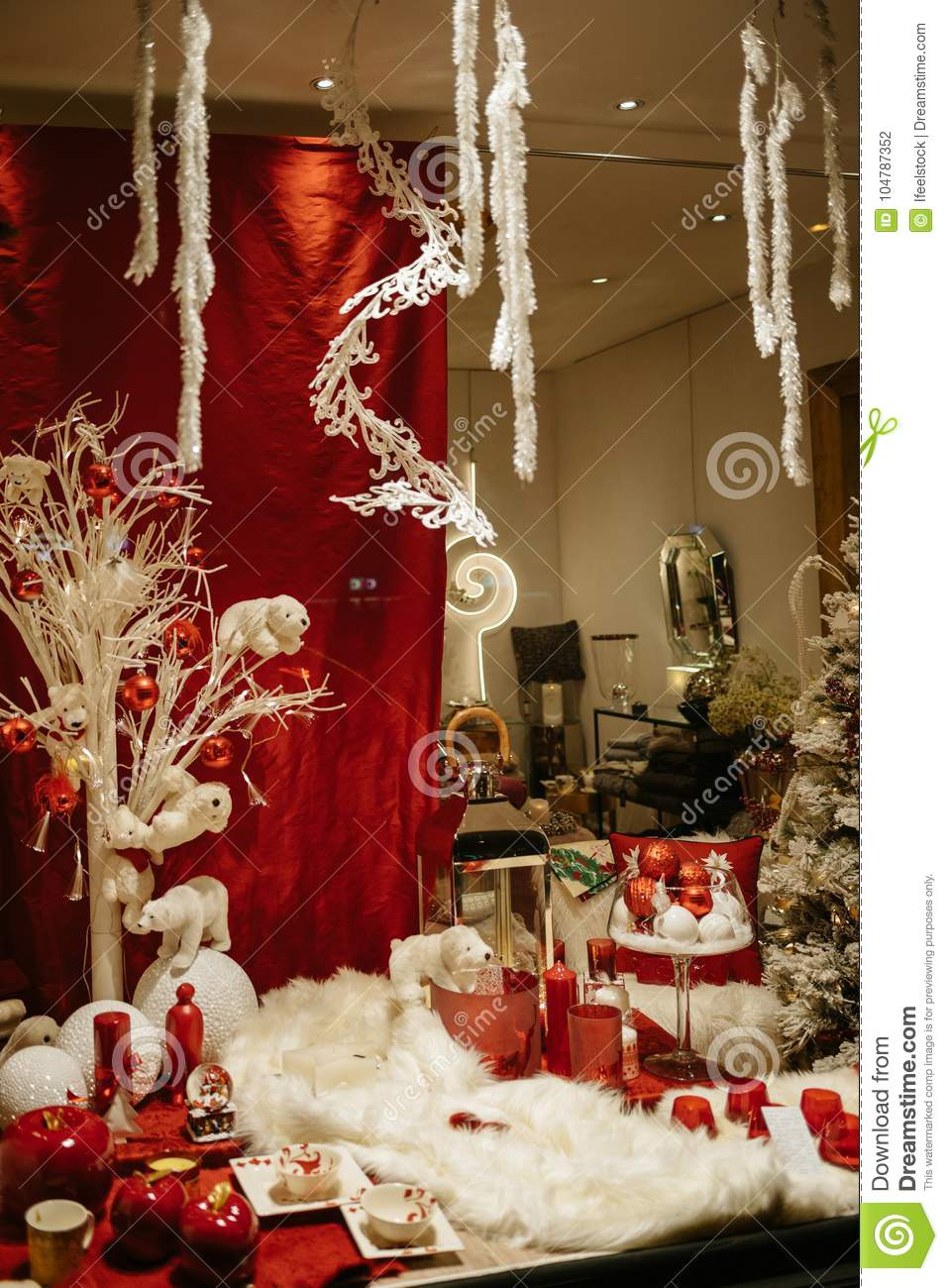Christmas Decorations Near Me.Christmas Decorations In Store Window Showcase Stock Photo