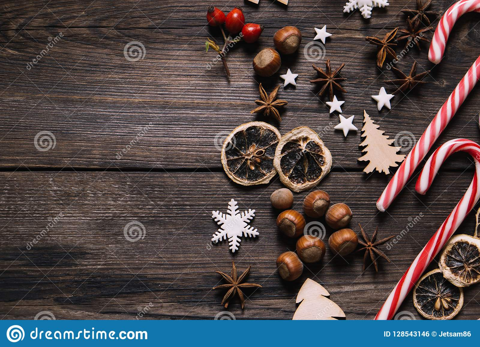 Christmas Decorations, Sweets, Spices Background Stock ...
