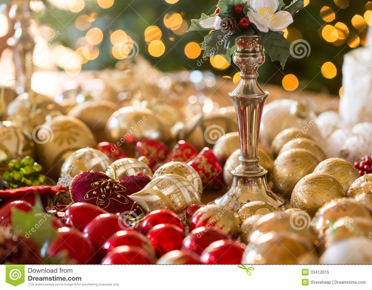 Christmas Decorations On Table Stock Image Image 33412015