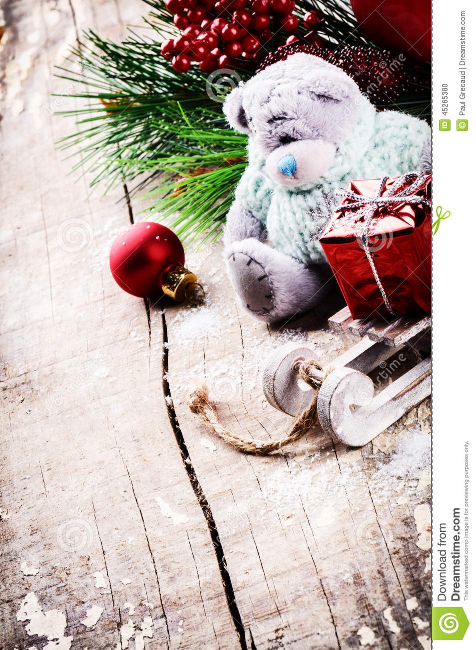Christmas decorations with teddy bear stock photo image - Deco retro chic ...