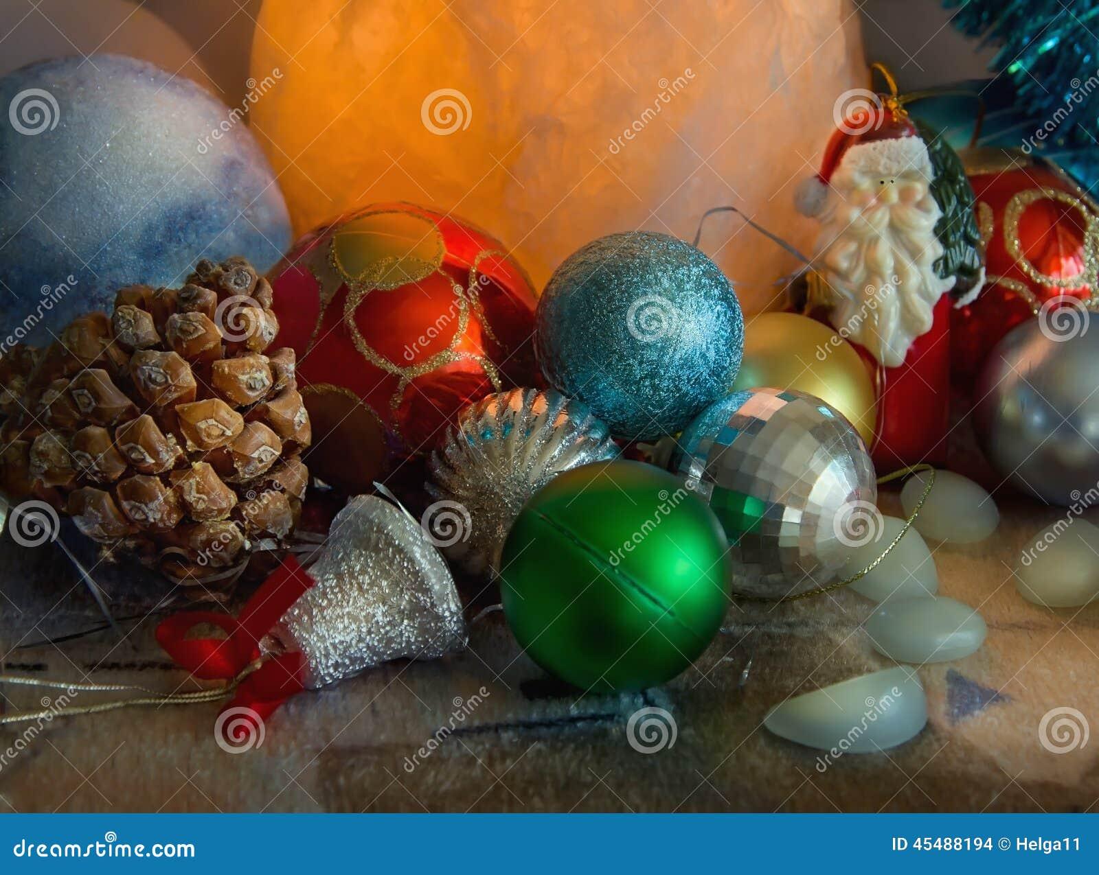 Salt Lamp Near Plants : Christmas Decorations Stock Photo - Image: 45488194