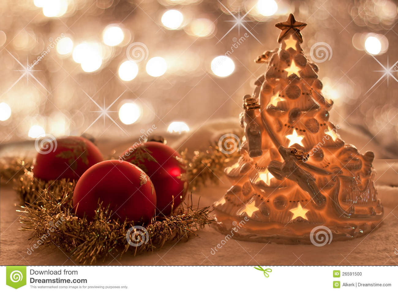 Christmas decorations with twinkling lights stock photo for White twinkle christmas lights