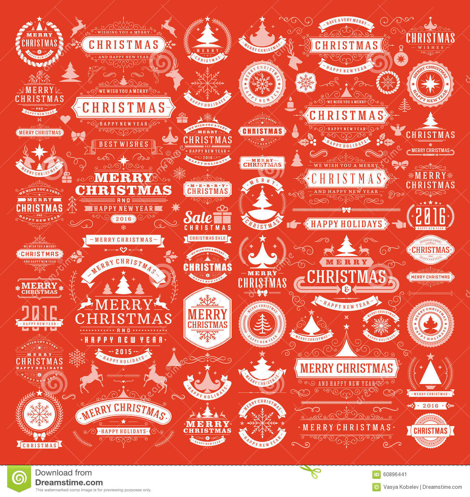 Christmas Tree Decoration Elements: Christmas Decorations Vector Design Elements Stock Vector
