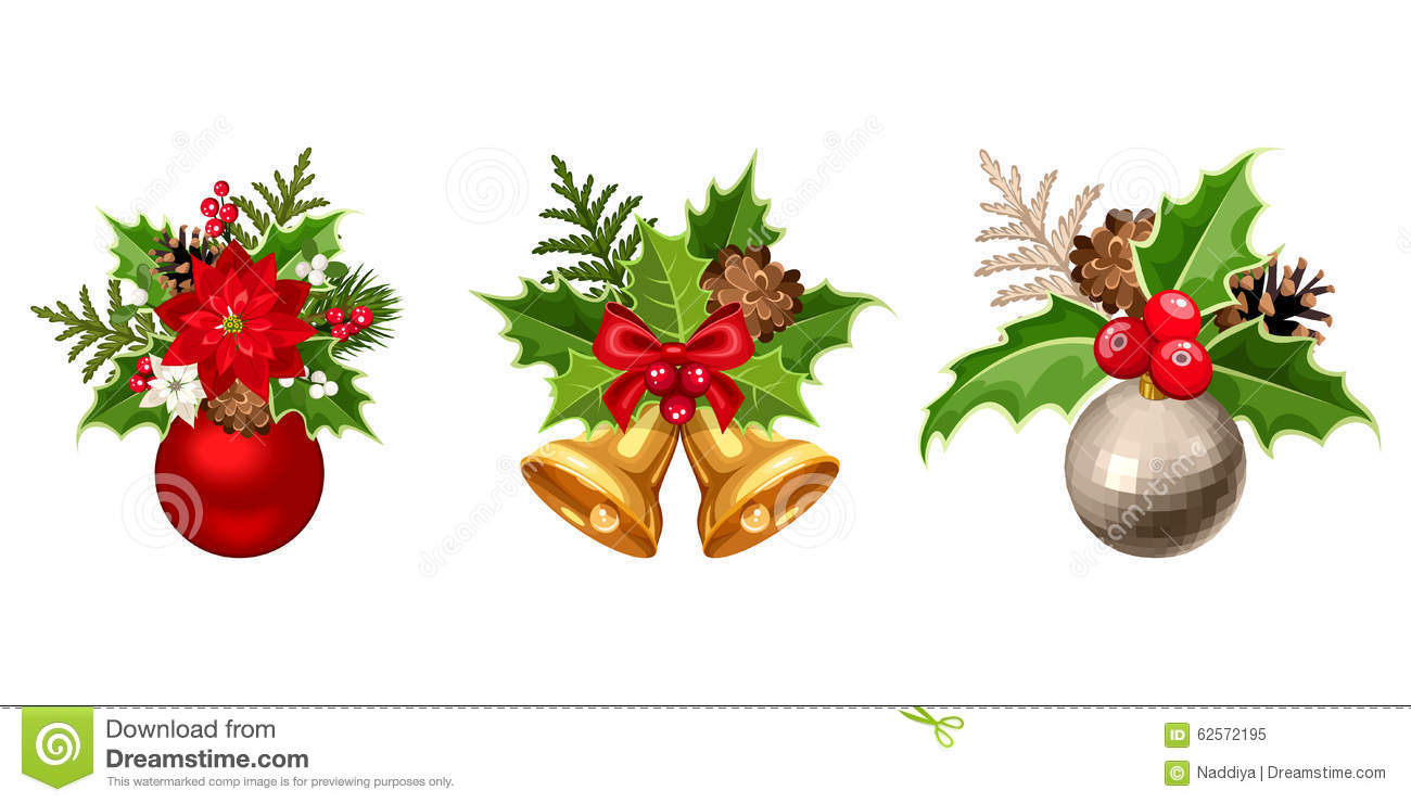 Holly christmas ornaments - Christmas Decorations Vector Illustration Royalty Free Stock Photo