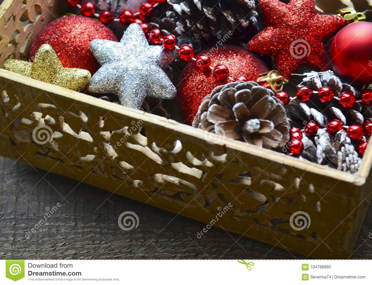 download christmas decorations in vintage wooden box as a preparation for decorating the xmas tree - Wooden Box Christmas Decorations