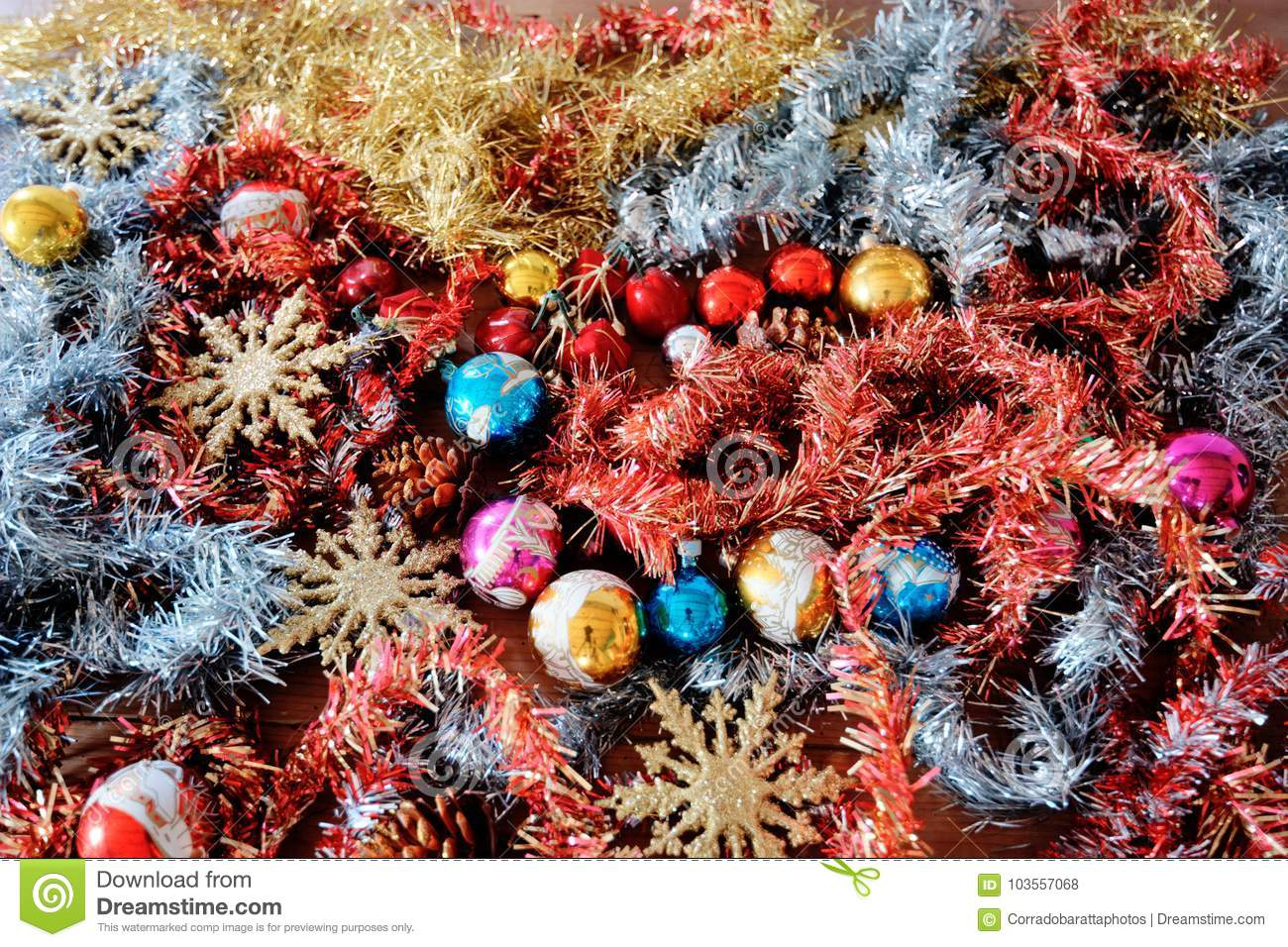 download christmas decorations are waiting to be used and now is the time stock photo