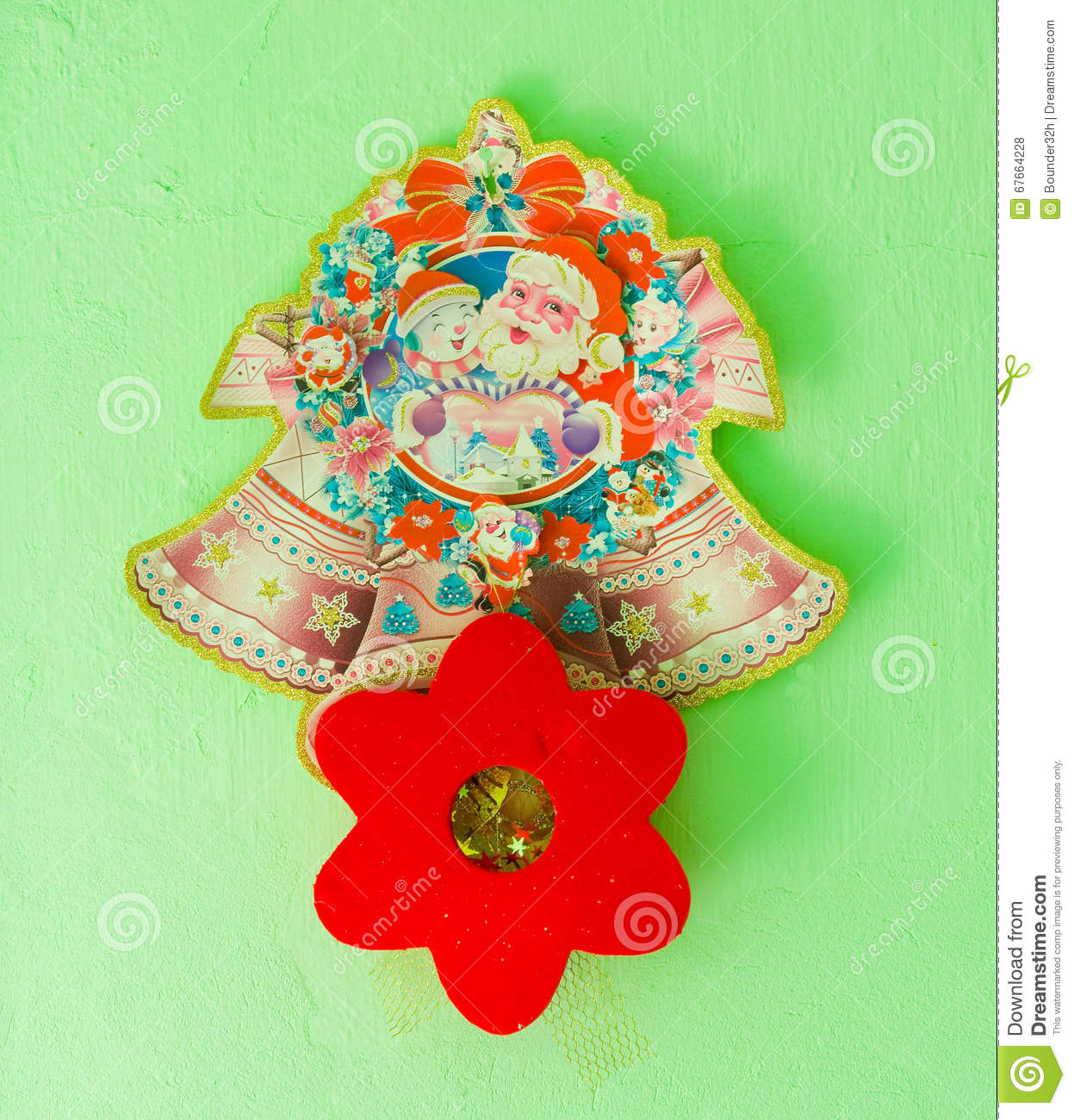 Christmas Decorations For The Wall Christmas Decorations On A Wall Stock Photo Image 67664228