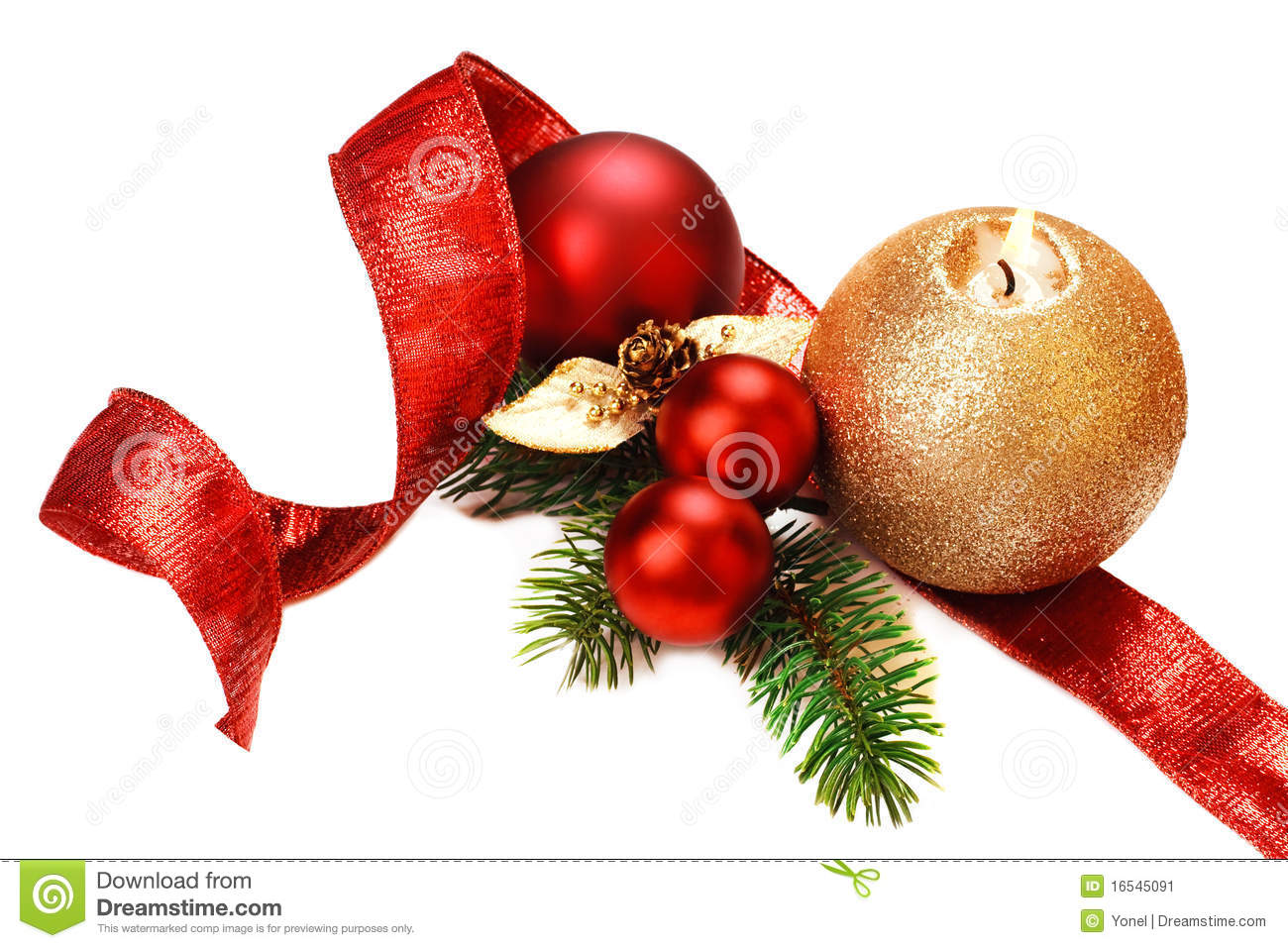 elegant christmas decorations red baubles ribbon pine branches and gold candle on white background - Elegant White Christmas Decorations