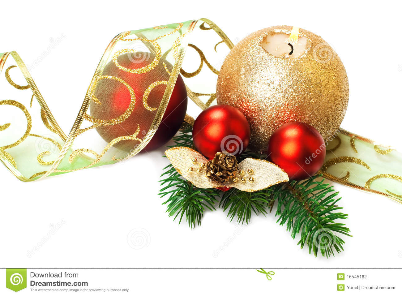 Christmas Decorations, On White Background. Stock ...