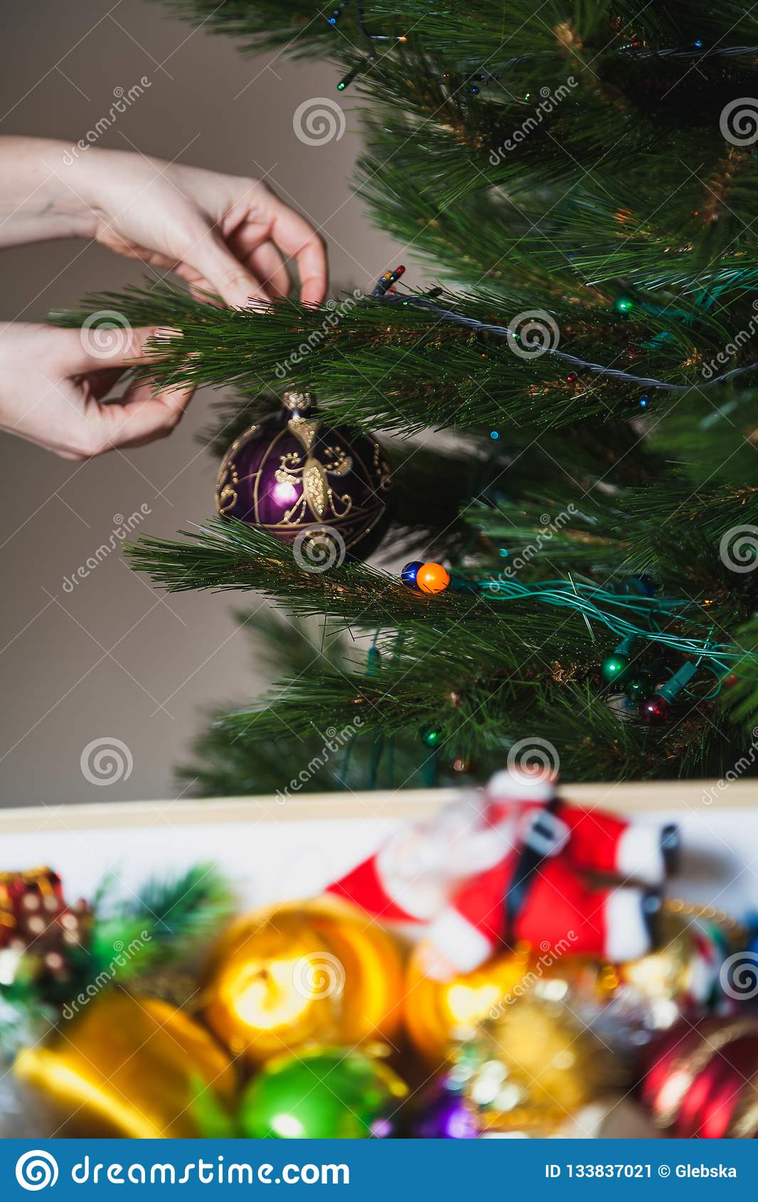Fairytale Christmas Decorations.With Christmas Decorations White Box Stock Image Image Of