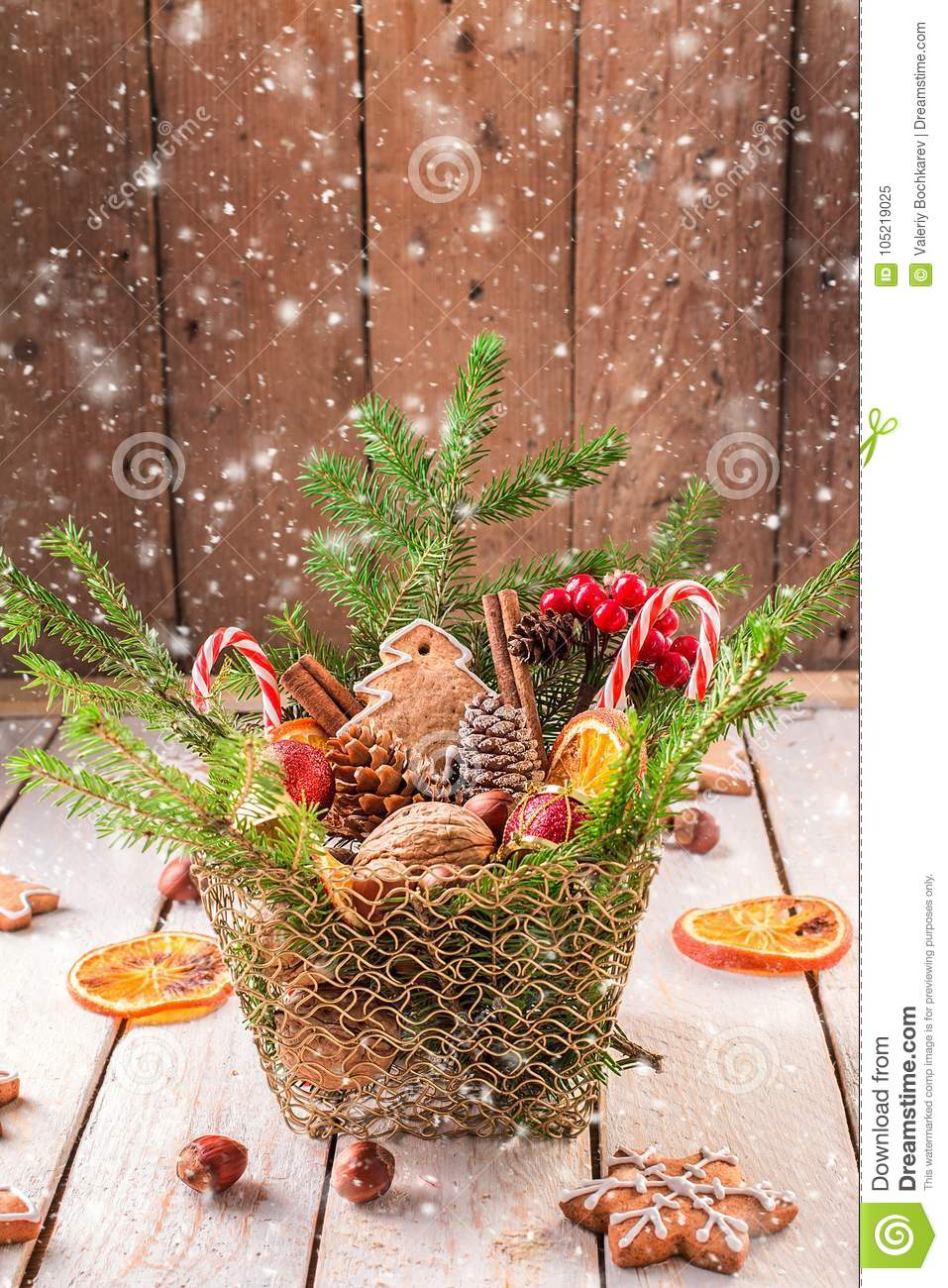 Christmas Decorations On A White Wooden Rustic Table Stock Image