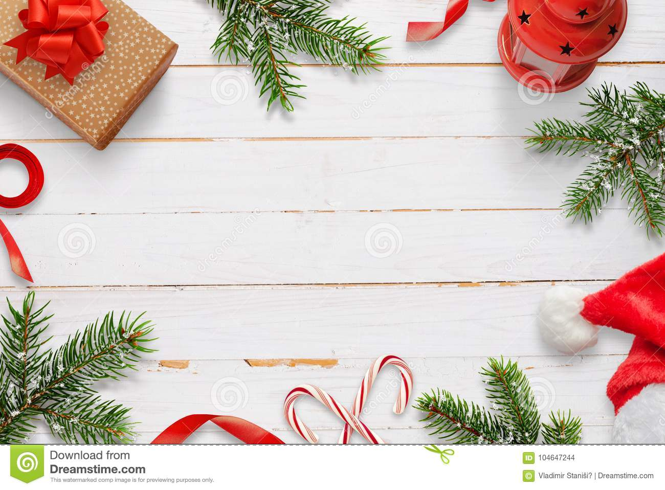 Christmas Decorations On White Wooden Table Free Space In The