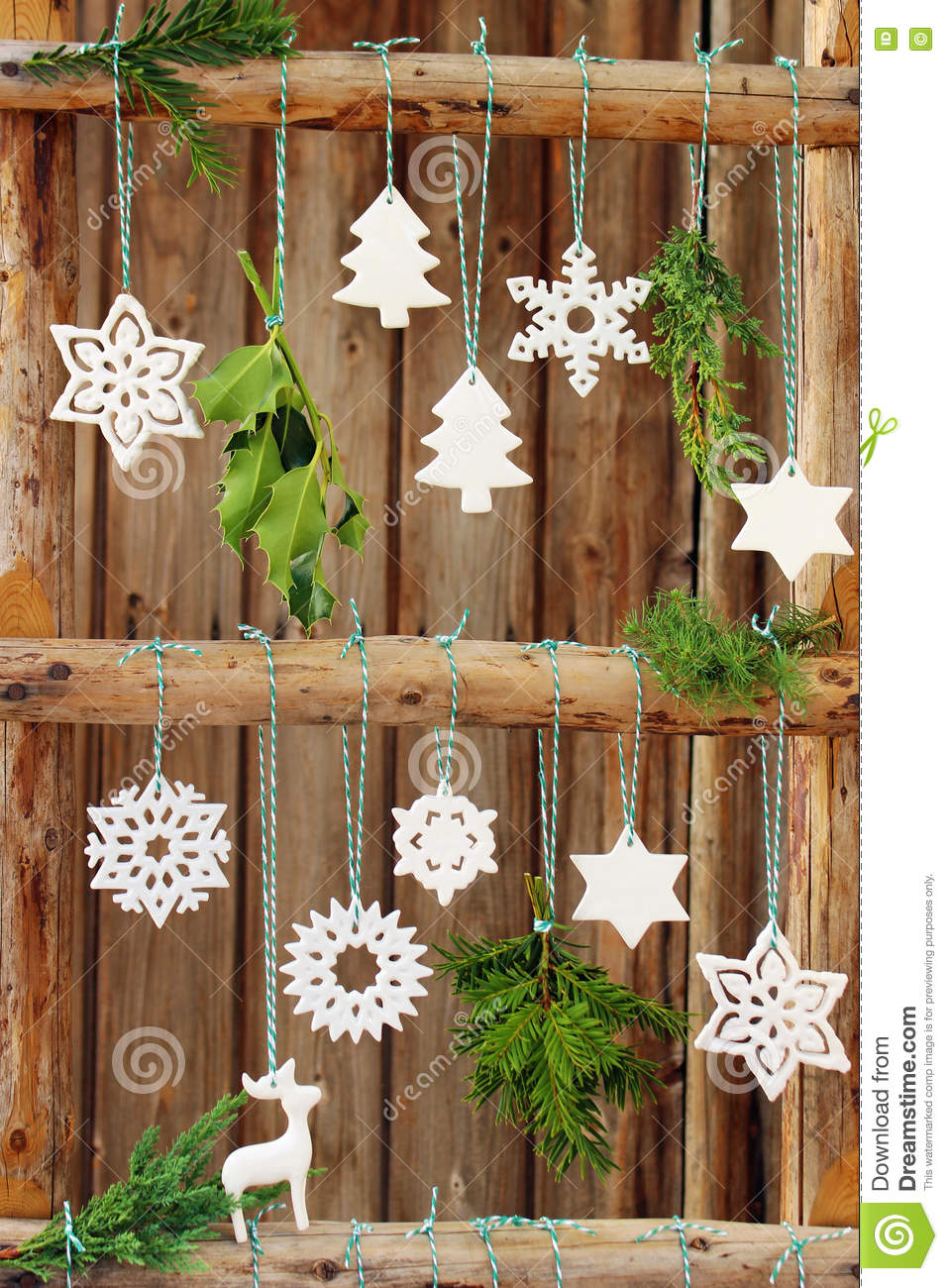 Christmas Decorations On A Wooden Fence Stock Image Image Of Rough