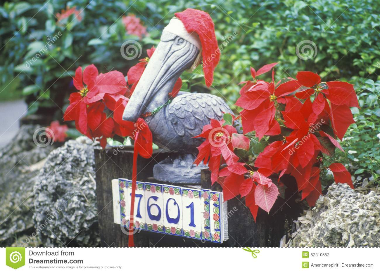 Christmas Decorations In Yard Of House, Key West, Florida Editorial ...