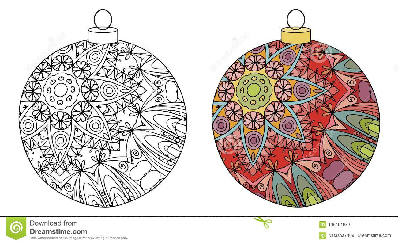 Zentangle Stylized Christmas Decorations. Hand Drawn Lace Vector ...