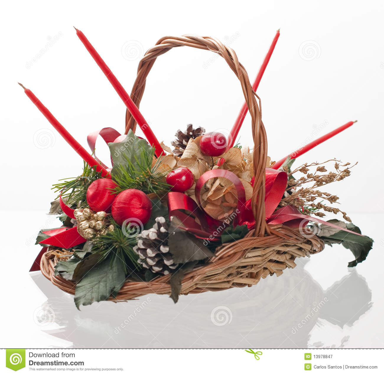 Christmas Decorative Basket Royalty Free Stock Photography