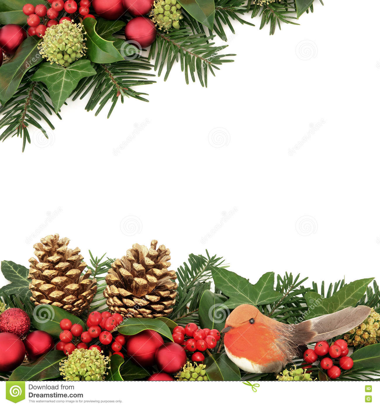Gold Robin And Holly Christmas Decorations. Stock Photo ...