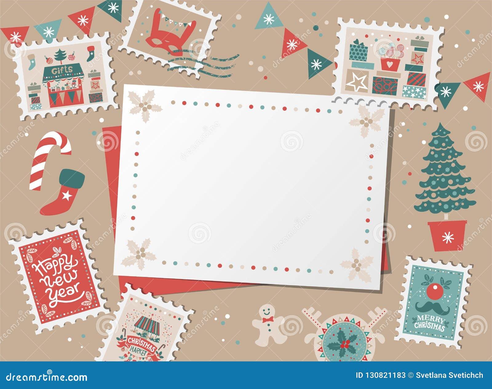 christmas decorative card border frame stock vector