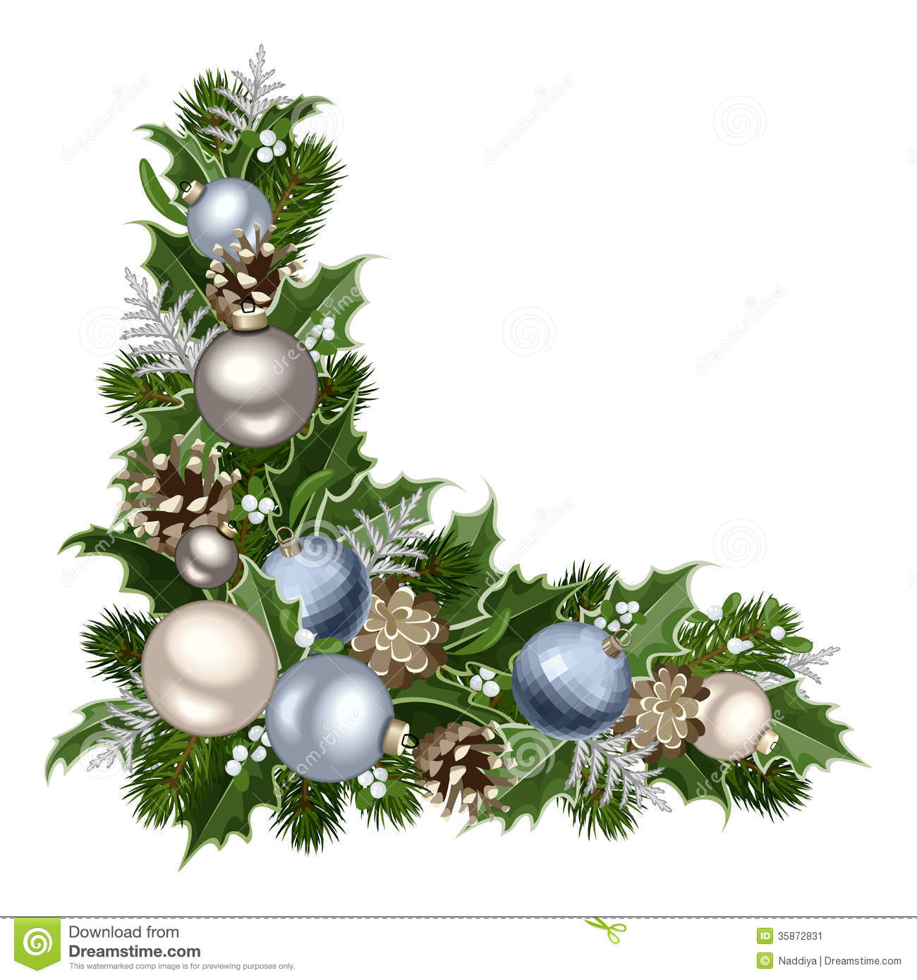 Holly christmas ornaments - Christmas Decorative Corner Stock Image
