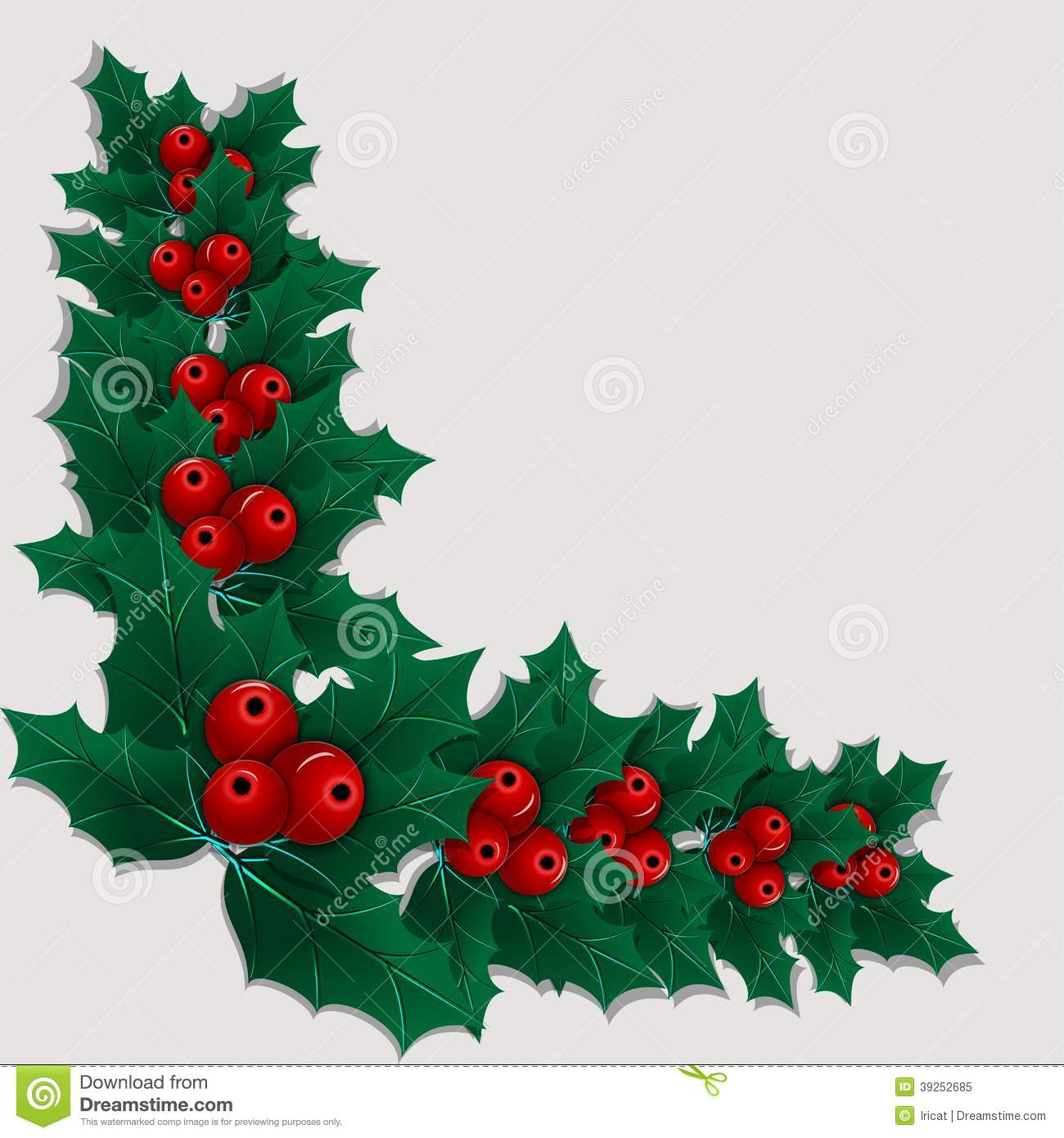Christmas Leaves.Christmas Decorative Corner Element With Holly Leaves And