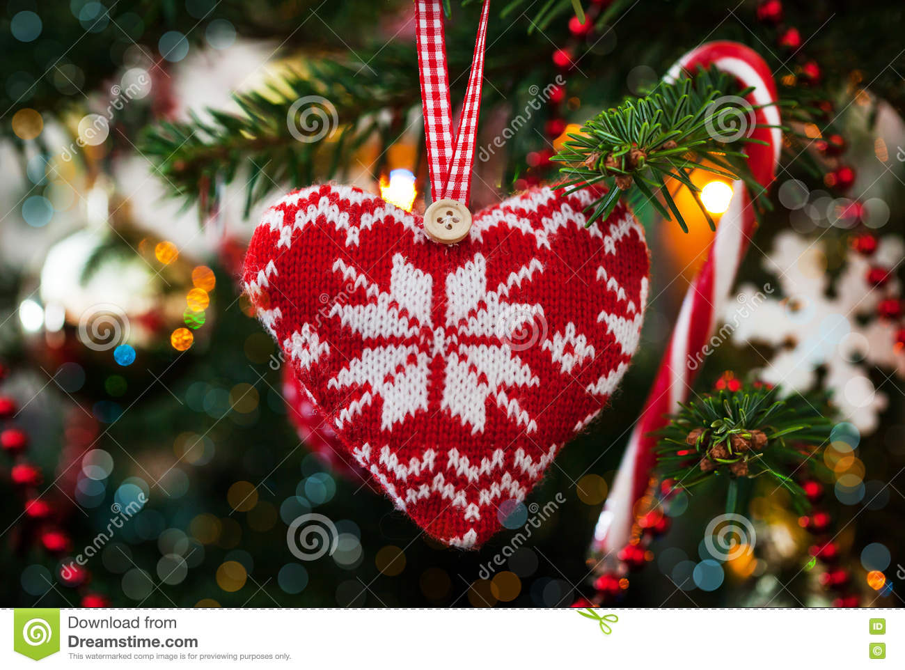Christmas decorative knitted heart